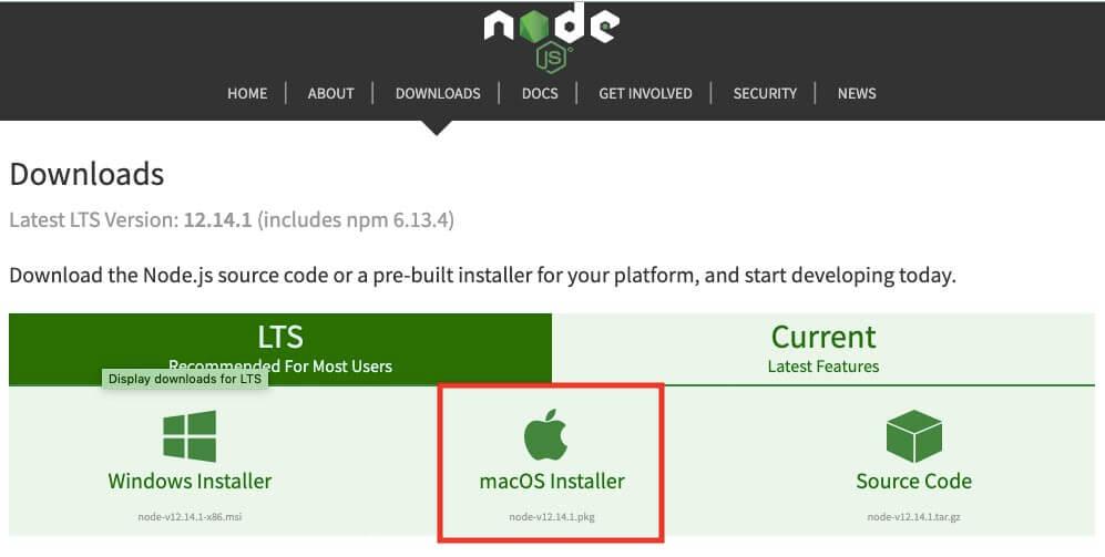 mac版node.jsをダウンロード