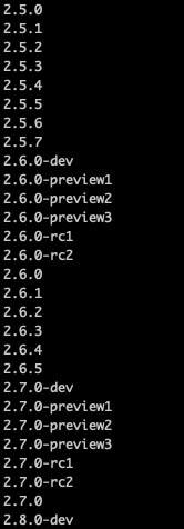 プログラミング言語Rubyのバージョン一覧